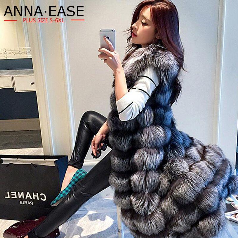 2018 frauen Faux Pelz Weste Verlängern Frauen Silber Fuchs Pelz Weste X-Lange Künstliche Pelz Jacke Plus Größe pelz Mantel Winter Frauen