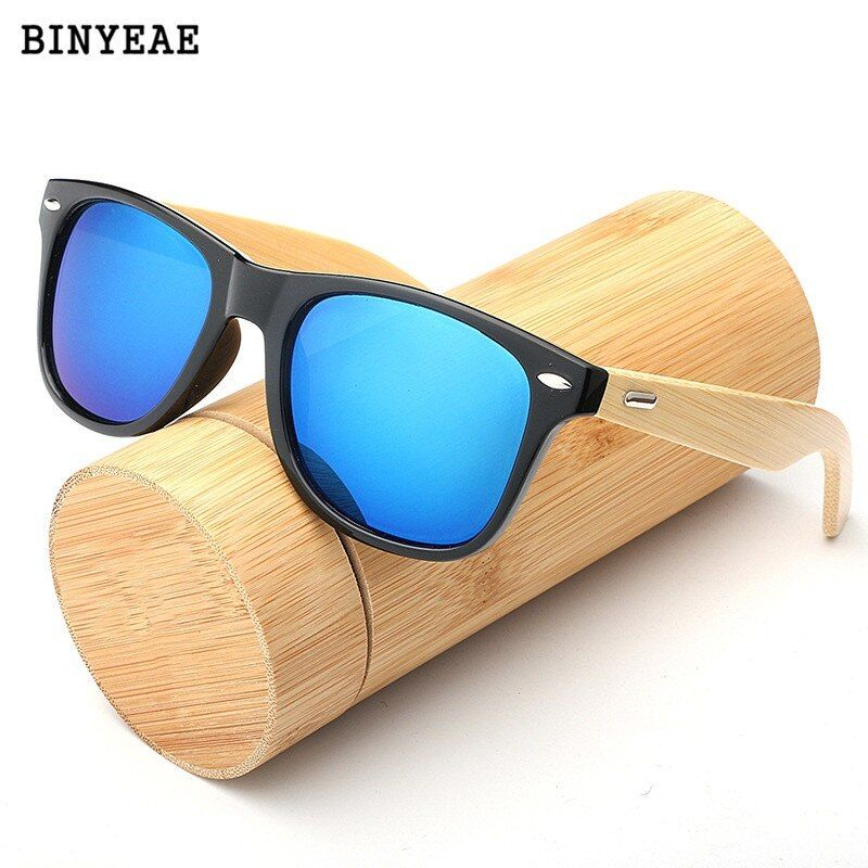 Outdoor Goggles Wooden Bamboo Sunglasses Men Women Mirrored UV400 Wood Glasses Shades Gold Blue Sunglases Male lunette soleil