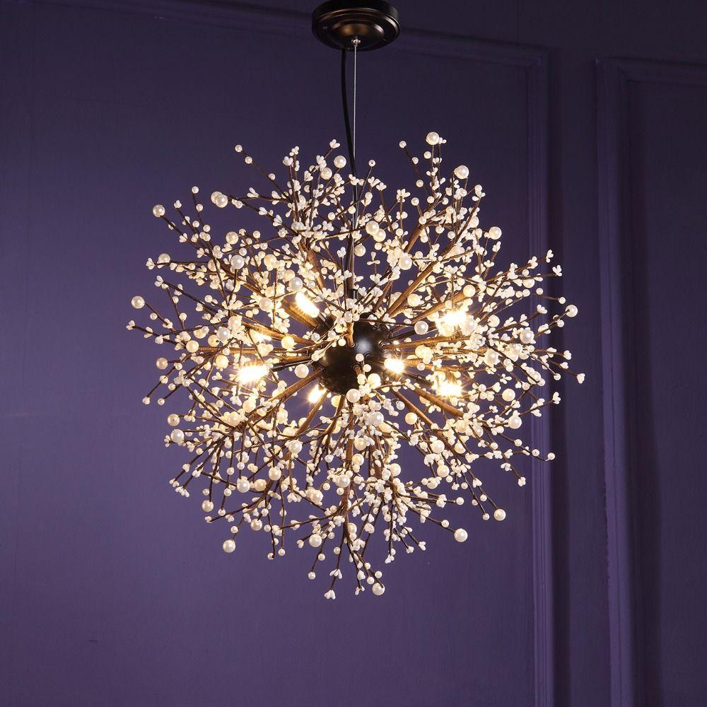 Vintage suspension lampe Loft lustres LED moderne cristal feu d'artifice pendentif éclairage plafonniers luminaires pour restaurant Foyer