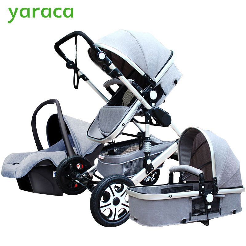 Baby Stroller 3 in 1 With Car Seat High <font><b>Landscope</b></font> Folding Baby Carriage For Child From 0-3 Years Prams For Newborns