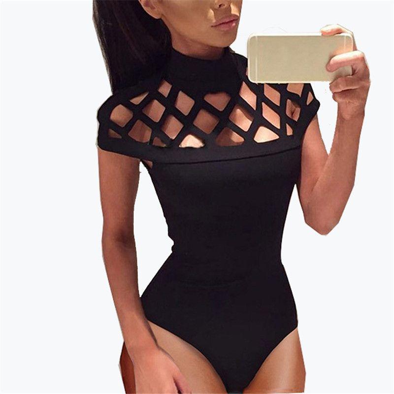 Sexy évider body été 2017 maille body femmes barboteuses salopette manches courtes combishort combinaison noir vert rouge