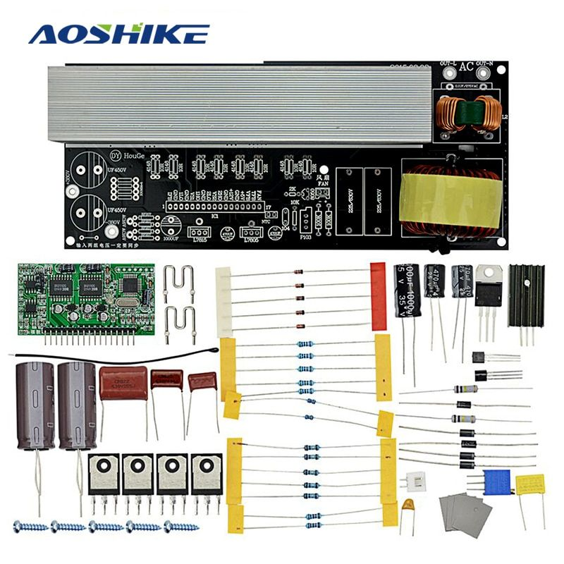 Aoshike 2000W Modified Sine Wave to Pure Sine Wave Inverter Inverter Board Diy Kits with Heat Sinks DC380V/AC16V to AC220V