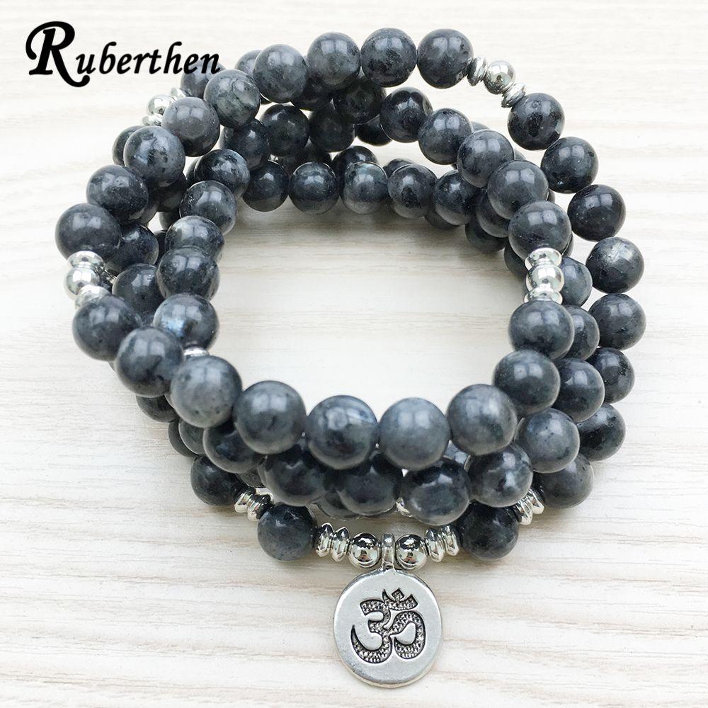Ruberthen 2017 Top Design Labradorite Wrap Bracelet Trendy Handmade Men`s 108 Mala Yoga Bracelet or Necklace Ohm Charm Bracelet