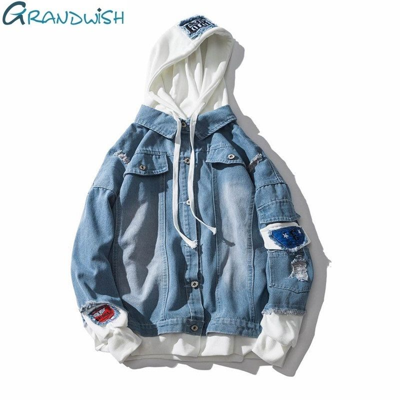 Grandwish Oversize Denim Jeans Jacket Men 2018 Spring Mens Hooded Jackets Jeans Plus Size 3XL Hip Pop Jeans Jacket Male ,DA572