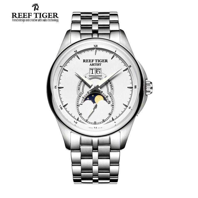 Reef Tiger/RT Vintage Watches for Men Moon Phase Stainless Steel Watches Big Date Automatic Watch RGA1928