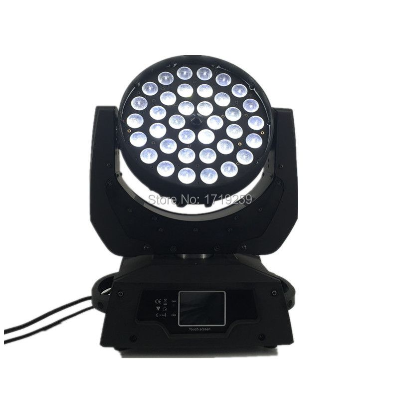 2 pcs/lot LED Zoom Wash 36x12W RGBW Color DMX Stage Touch Screen ,LED Moving Head Wash Light with 16 DMX Channels