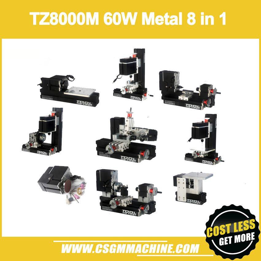 TZ8000M 60 Watt Metall 8 in 1 Mini drehmaschine/60 Watt, 12000 rpm Mini 8 in1 drehmaschine Kit/8in 1 Metall drehmaschine/Bohren, Fräsen, Schleifen Maschine