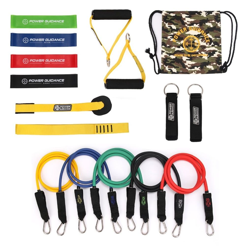 15 in 1 Hause Fitness-Studios Workout Natur Latex Widerstand Band Pull Rope Set Yoga Fitness Expander Rohre Übung Training Gummi band