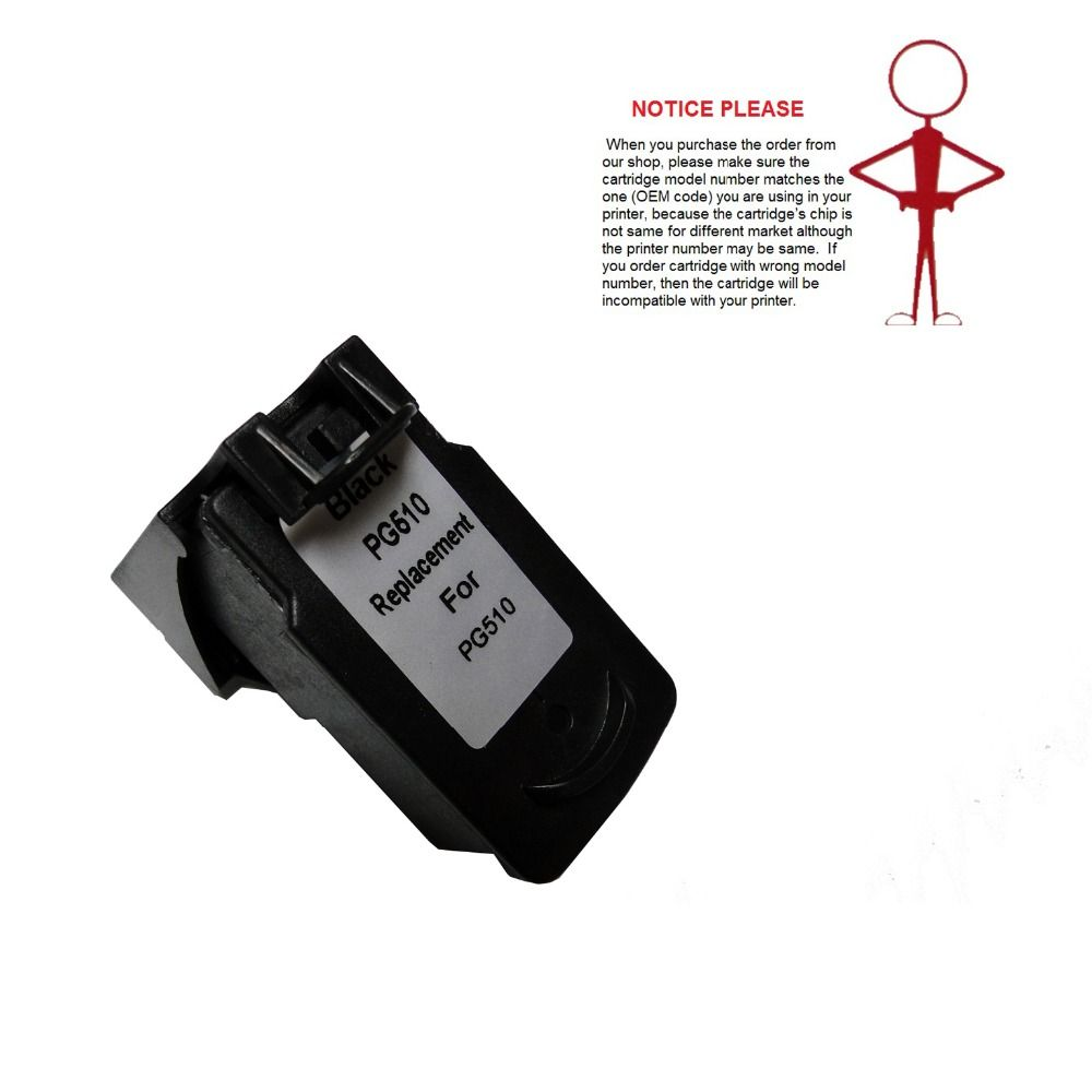 YOTAT 1pcs Remanufactured ink cartridge PG510 PG-510 PG510XL for Canon Pixma IP2700 MP240 MP250 MP260 MP270 MP280 MP480 MP490