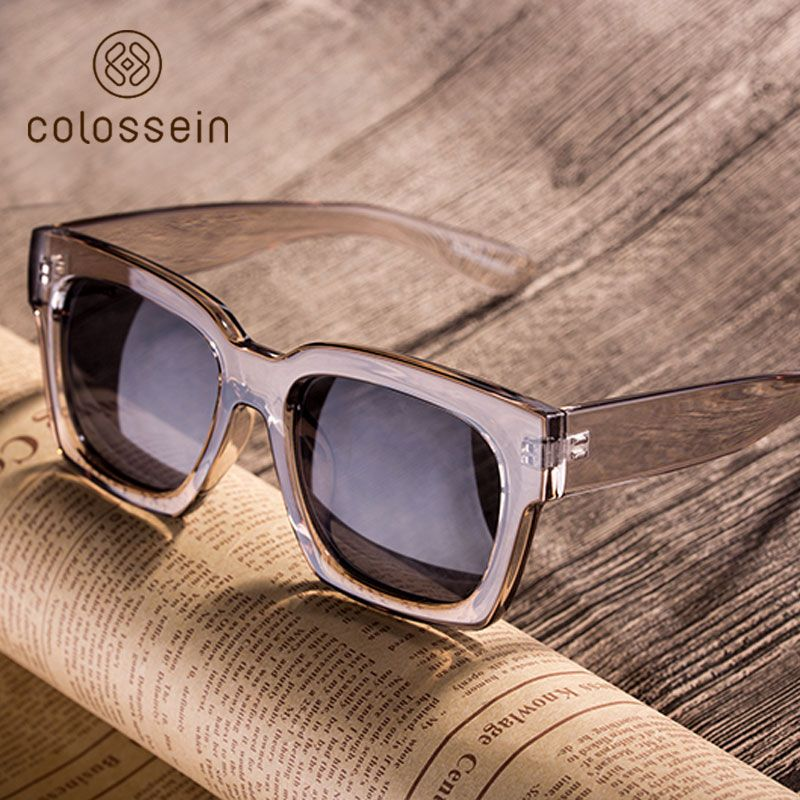 COLOSSEIN Fashion Sunglasses Women Loves Oversized Square Frame Eyewear 2018 New Trendy Summer Glasses New Trend for Women Men