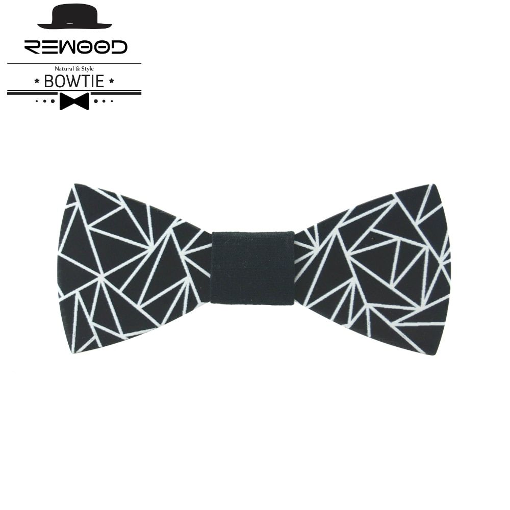 Rewood New Classic Wood Bow Ties Printed Geometry  for Mens Wedding Suits Wooden Bow Tie Butterfly Shape Bowknots Gravatas