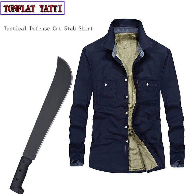 Taktische Anti-Stab Selbstverteidigung Langärmeligen T-shirt Plus Samt Warme Unsichtbare Schnittfeste kleidung Verdeckte Stab 3XL