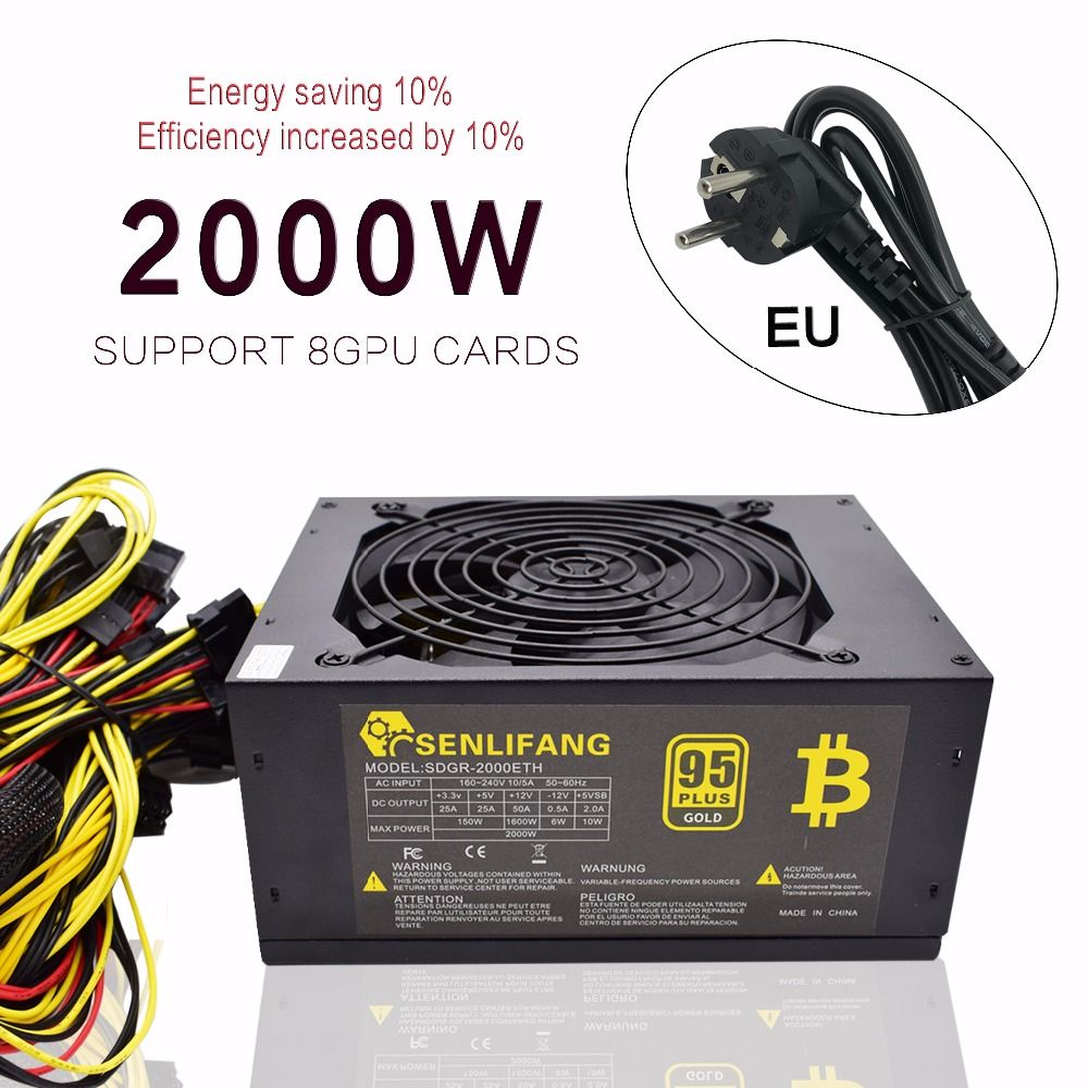 Asic bitcoin new Gold power 2000W PLUS ETH power supply ATX Mining Machine supports 8 GPU cards support free shipping