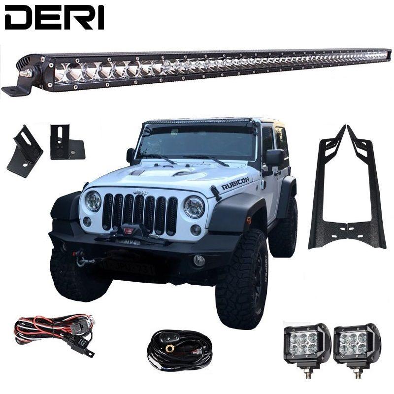 50'' 51 in 250W Led Offroad Light Bar 4'' 18W Led Work Lights A Pillar Mount Brackets for Jeep Wrangler JK Kit 07-17 Car styling