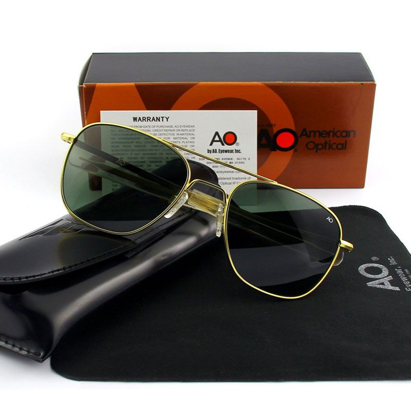 Fashion high quality Brand Designer Sunglasses Men American Army Military Pilot AO Sun Glasses Male Glass Lens de sol OP55 OP57