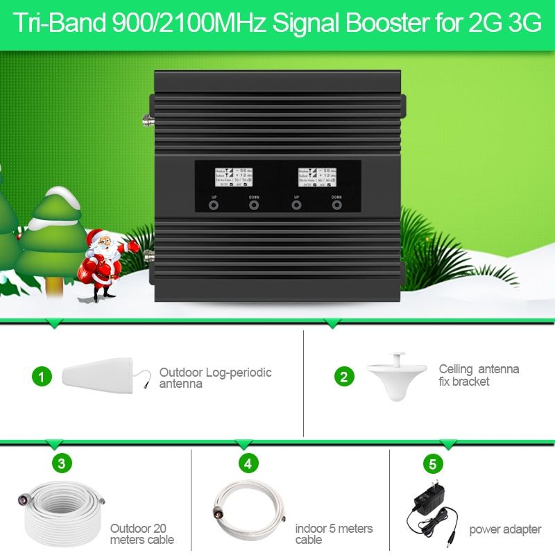 High Power High Gain 2G 3G mobile signal booster LCD 900/2100mhz cellular signal amplifier repeater for 2G 3G calling and date