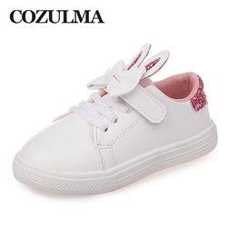 COZULMA Printemps Enfants Sneakers Enfants Chaussures Filles paillettes lapin oreilles En Plein Air Casual Chaussures Filles Princesse Arc cravate Sport Chaussures