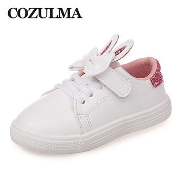 COZULMA Spring Children Sneakers Kids Shoes Girls sequined rabbit ears Outdoor Casual Shoes Girls Princess Bow tie Sport Shoe