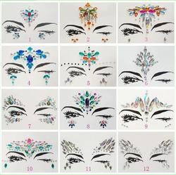 Adhesive Face Gems Rhinestone Temporary Tattoo Jewels Festival Party Body Glitter Stickers Flash Temporary Tattoos Sticke