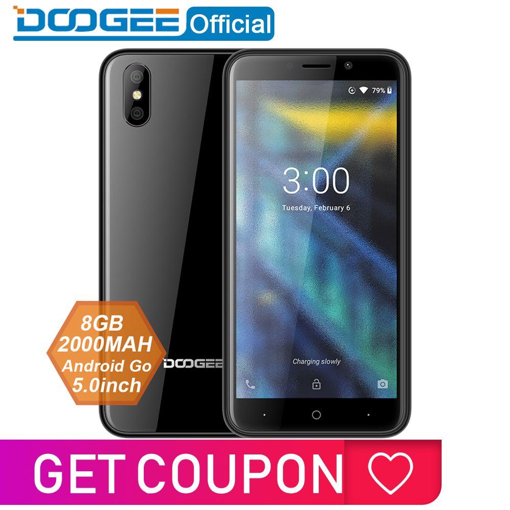 DOOGEE X50 téléphone portable Android 8.1 MTK6580M Quad-Core 1 GB RAM 8 GB ROM double caméras 5.0 pouces 2000 mAh double SIM Smartphone WCDMA