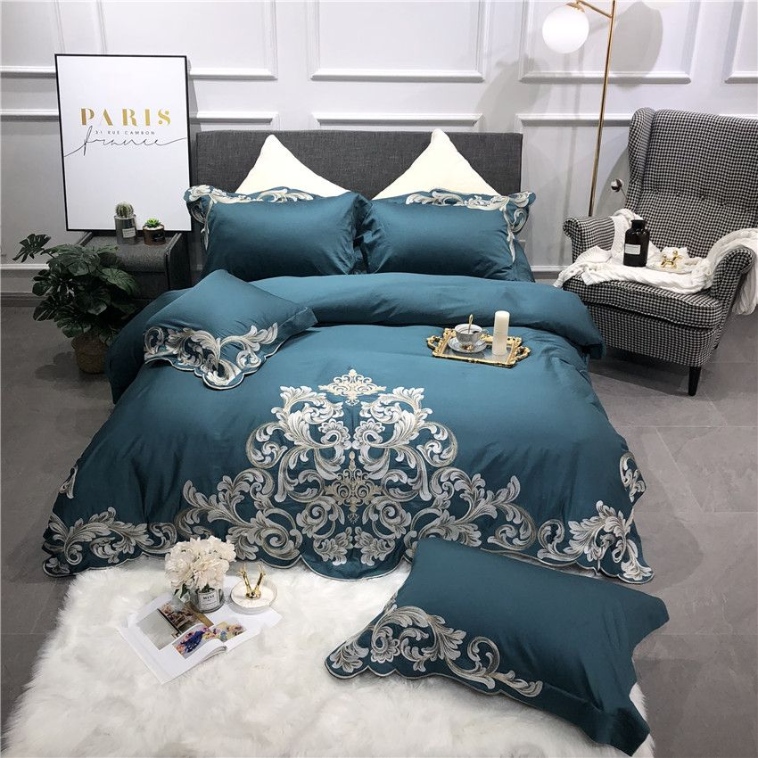 Egyptian Cotton Luxury Royal Bedding Set Queen King Size Bed set Embroidery Green Pink Duvet Cover Bed Sheet Linens Pillowcases