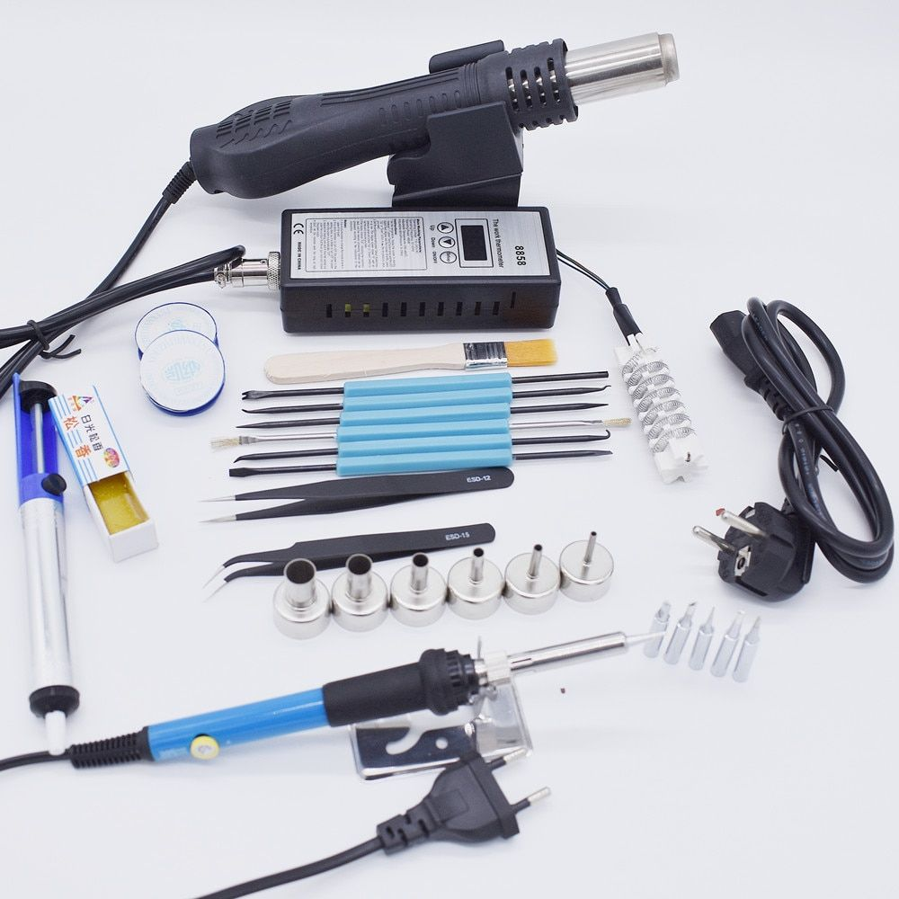 220V 110V 8858 Hot Air Gun BGA Rework Solder Station Hot Air Blower With Soldering iron Welding Repair Tools