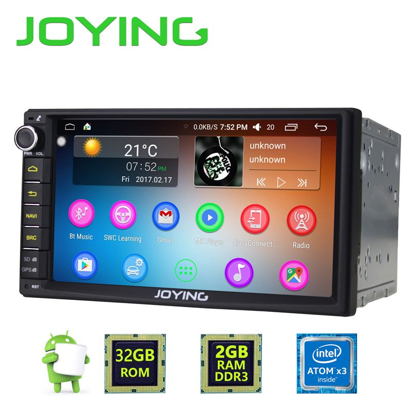 Newest JOYING 2GB RAM 32G ROM 2Din HD 7'' Android 6.0 Universal Car Radio Audio Stereo GPS Navigation Media Player Tape recorder