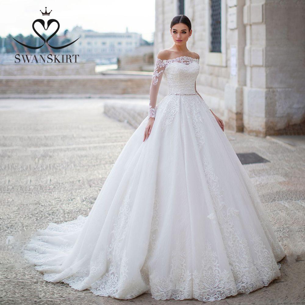 Swanskirt Elegante Appliques Ballkleid Hochzeit Kleid 2019 Boot-ausschnitt Langarm Kristall Prinzessin Brautkleid robe de mariee K148