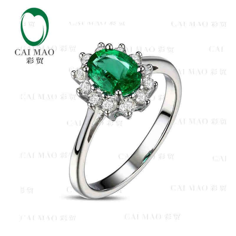 CaiMao 0.81 ct Natural Emerald 18KT/750 White Gold 0.38 ct Full Cut Diamond Engagement Ring Jewelry Gemstone colombian