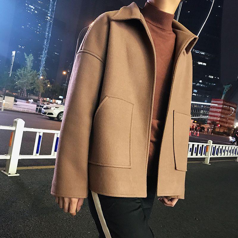 2018 Men's Restore Lapel Collar Short Woolen Streetwear Brand Jacket Loose In Warm Coats Black/camel Color Windbreaker M-2XL