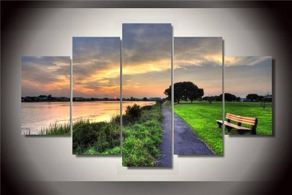 Hd Printed Sunset Garden Painting On Canvas Room Decoration Print Poster Picture Canvas Free Shipping/Ny-2212 Size 1 NO Framed