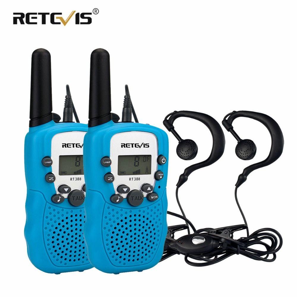 2 pcs Mini Two Way Radio Retevis RT388 Enfants de Talkie Walkie PMR446 PMR FRS/GMRS Émetteur-Récepteur Portatif Enfants woki Toki + 2 pcs Casque