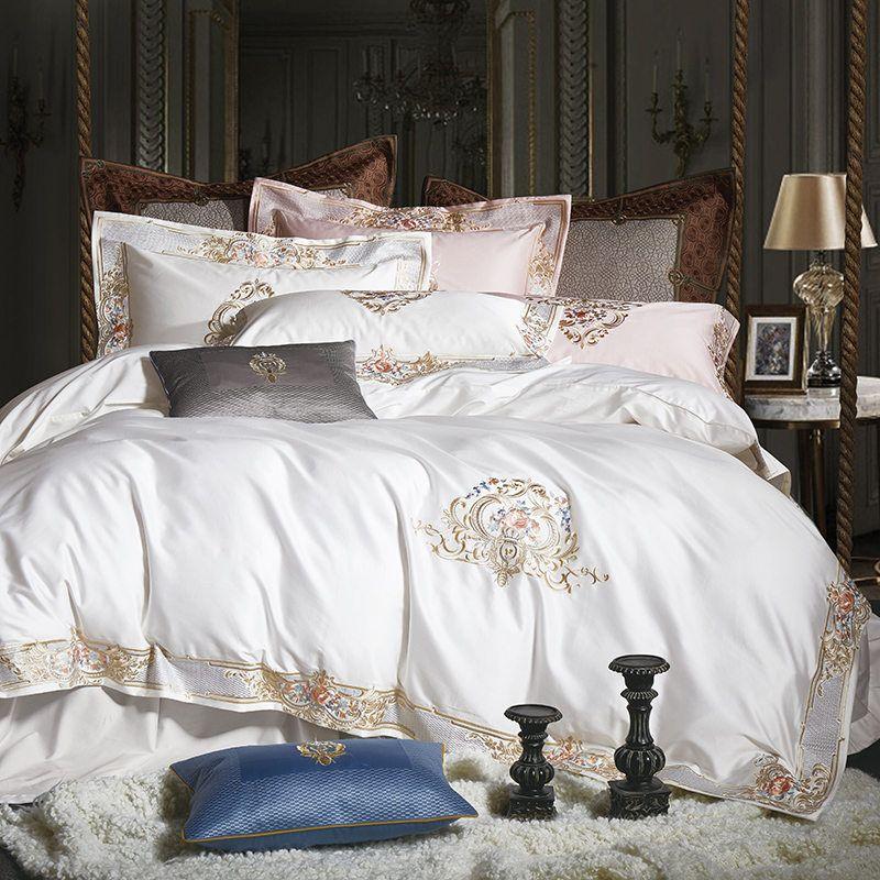 1000TC Ägyptischer Baumwolle Königlichen Luxus Bettwäsche set Weiß König Königin Größe Stickerei Bett gesetzt Bettdecke Abdeckung Bettlaken set parrure de lit