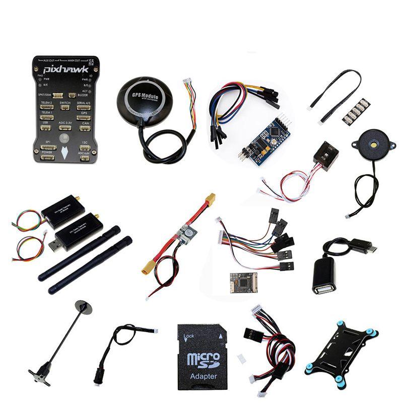 Pixhawk PX4 PIX 2.4.8 32 Bit Flight Controller + 433/915 Telemetrie + M8N GPS + Minim OSD + PM + sicherheit Schalter + Summer + PPM + I2C + 4G SD