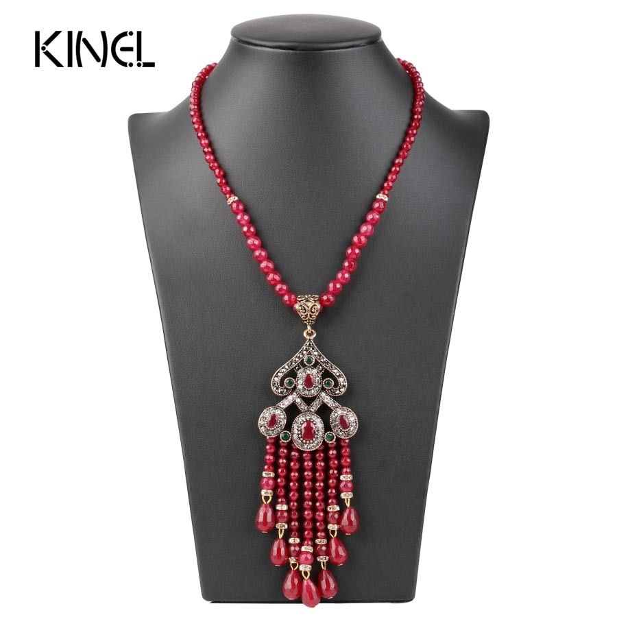 Collier pendentif Vintage Long gland de luxe pour femmes Antique couleur or turc rouge cristal pull indien Bijoux