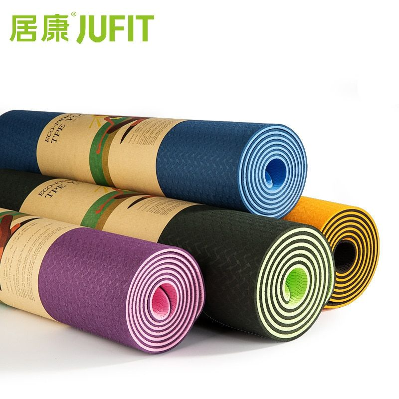 JUFIT 1830*610*6MM TPE Yoga Mat Double Sided Color Exercise Sports Mats For Fitness Gym Environmental Tasteless <font><b>Pad</b></font> With Rope