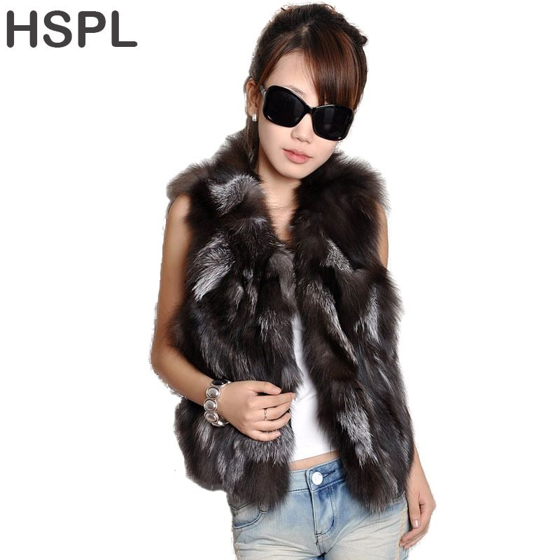 Fox Fur Gilet 2017  Real Fur Short Women Natural Winter Feminino Genuine fur vest Female Real short fur vest colete de inverno