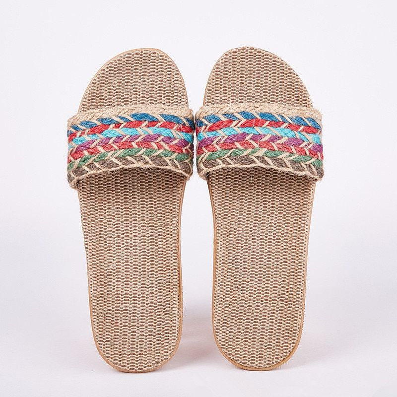 Suihyung Women Flax Slippers Sandals Summer Comfortable Non-slip Ladies Home Flip Flop Cross-tied Casual Indoor Shoes Multicolor