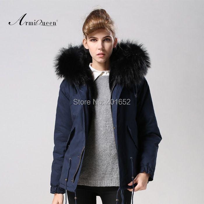 TOP quality new 2015 winter jacket coat women's parkas dark blue Large raccoon fur collar hooded woman outwear loose clothing