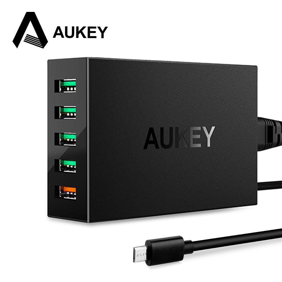 AUKEY USB Desktop Charger Quick Charge 3.0 5-Port Phone Charger USB Fast Charging Mobile Smart Charger for iPhone Xiaomi Samsung