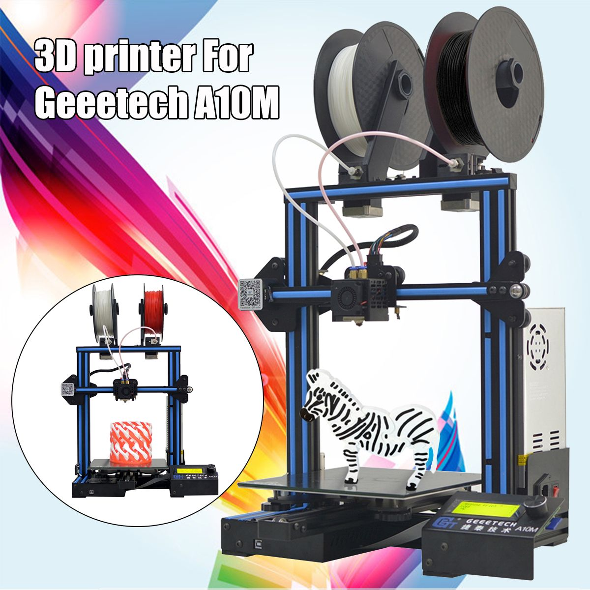 A10M Mix-color I3 3D Printer Printing Size With Dual Extruder/Filament Detector/Power Resume/3:1 Gear Train Control Board