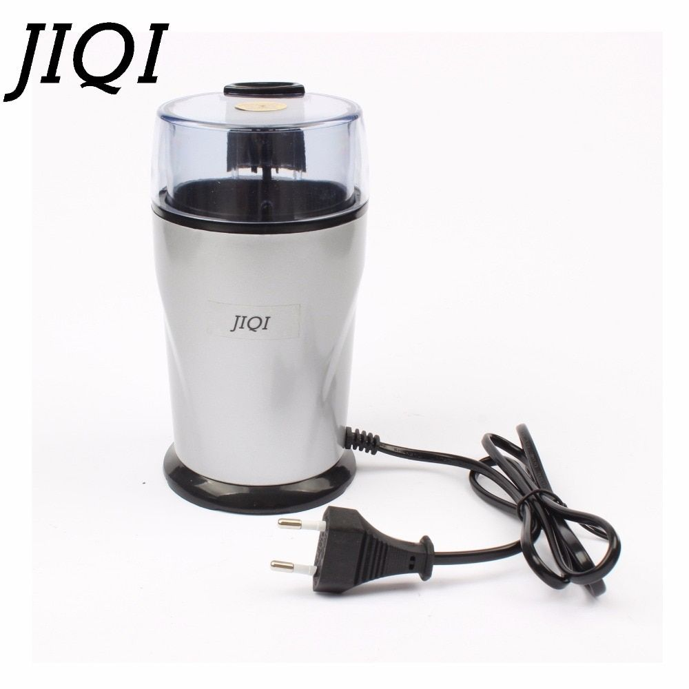 JIQI Electric Coffee grinder 220v-240V ELECTRICAL COFFEE herbs mill beans nuts grinding machine stainless steel blades Euro plug