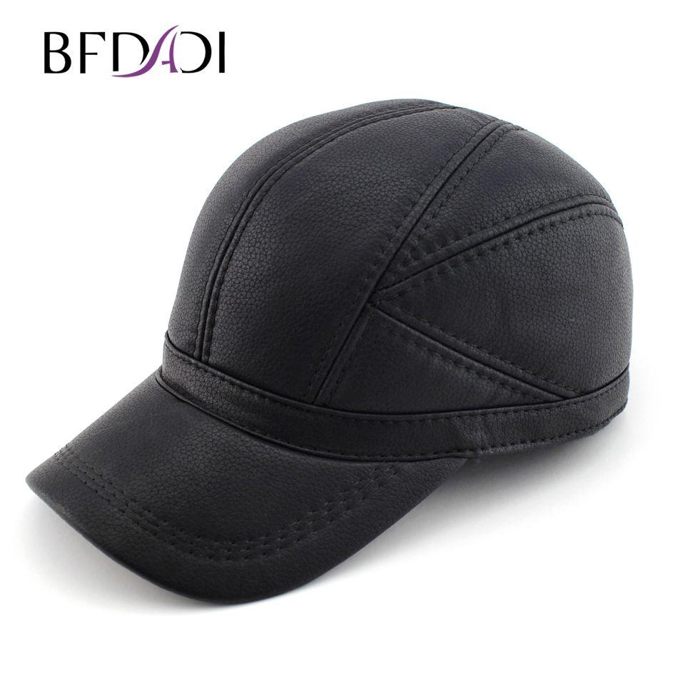 BFDADI haute qualité Faux cuir chapeau véritable hiver en cuir chapeau casquette de baseball réglable pour hommes noir chapeaux livraison gratuite