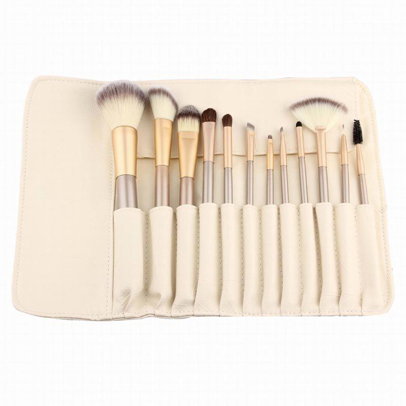 12 pièces en or Rose Pinceaux De Maquillage Fondation Fard À Paupières maquillage brosse Cosmétiques avec Cuir Trousses De Toilette Pincel Maquiagem