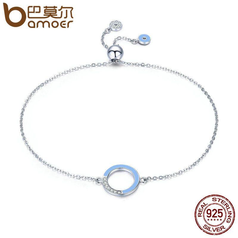 BAMOER Echtem 100% 925 Sterling Silber Mode Runde Kreis Licht Blau Emaille Kette Link Armband Frauen Luxus Schmuck SCB041