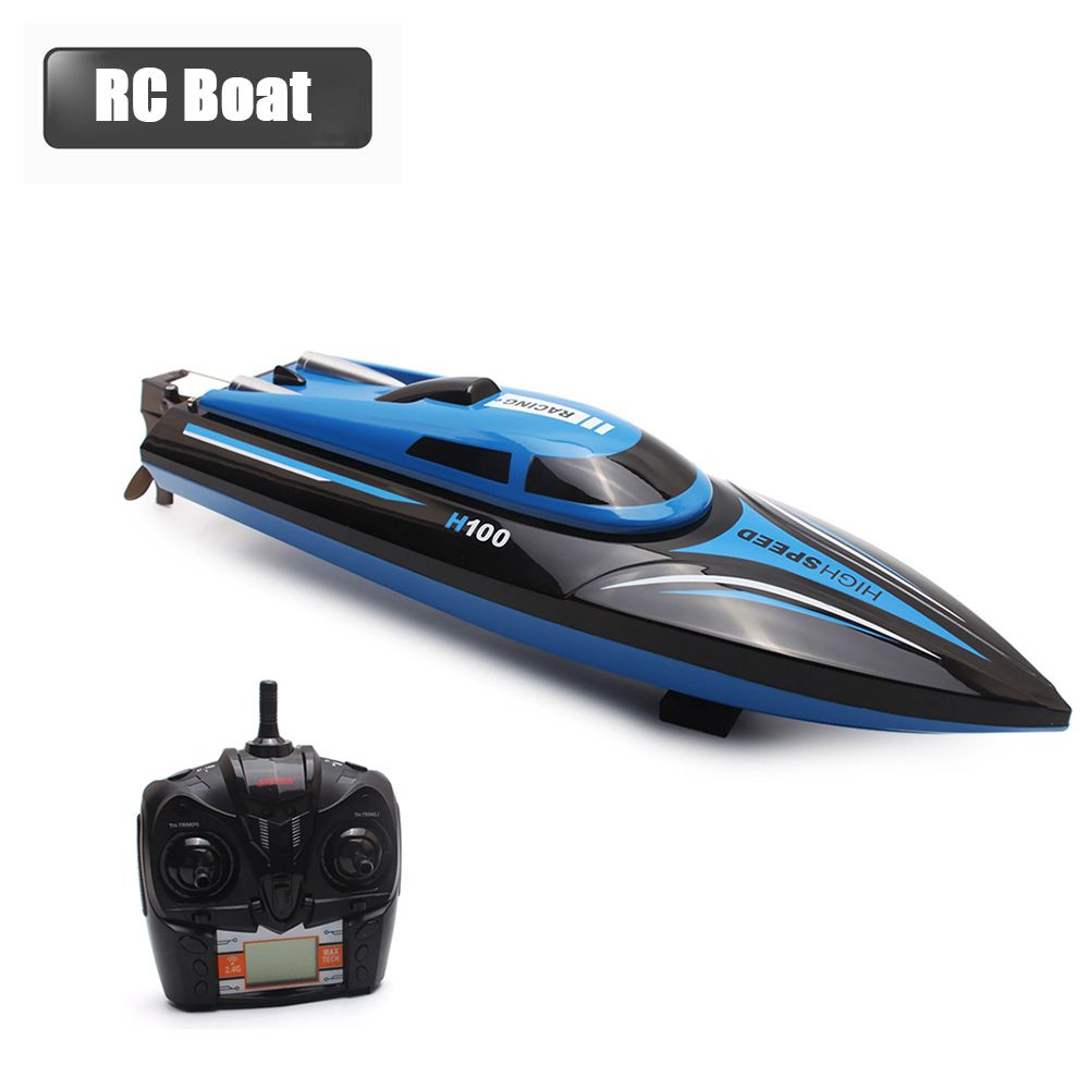 High Speed RC Boat H100 2.4GHz 4 <font><b>Channel</b></font> 30km/h Racing Remote Control Boat with LCD Screen as gift For children Toys Kids Gift