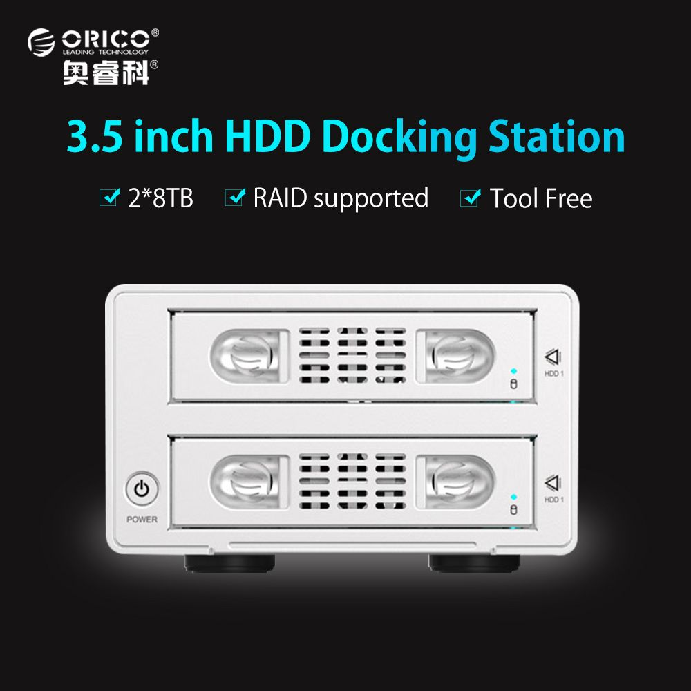 ORICO Tool Free 2 Bay 3.5 Inch SATA to USB3.0&eSATA HDD External Docking Station RAID Function 2bay Aluminum HDD Case