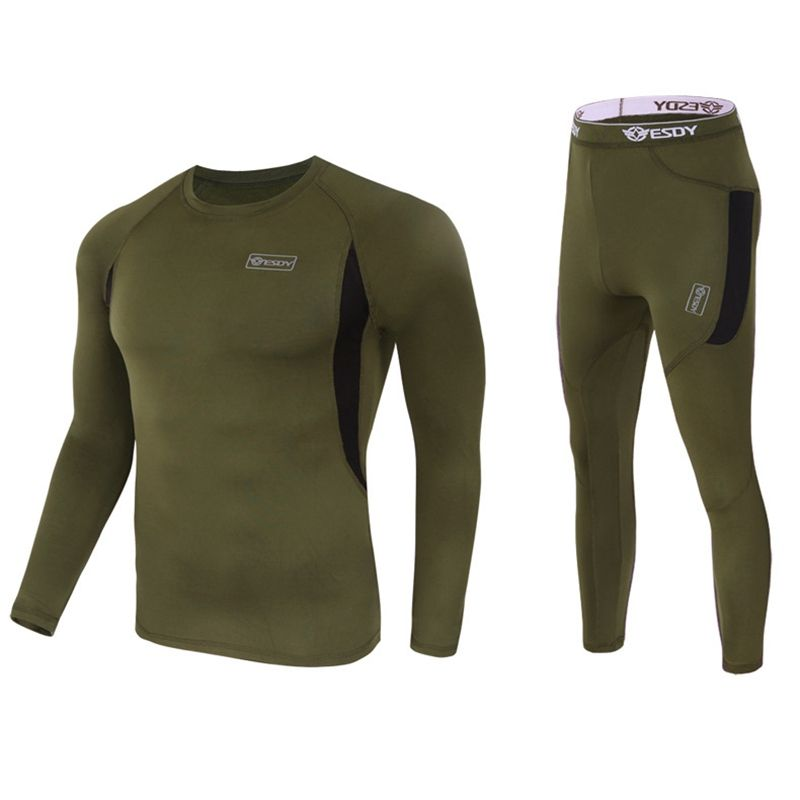 Men's tactical fleece thermal underwear sweat quick drying thermo underwear mens breathable elasticity Long Johns tops shirt set