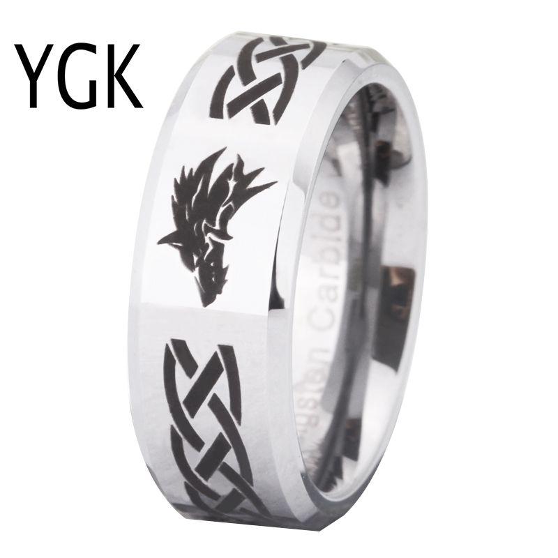 Free Shipping USA UK Canada Russia Brazil Hot Sales 8MM Legend of Zelda&Wolf Silver Beveled Men's Fashion Tungsten Wedding Ring