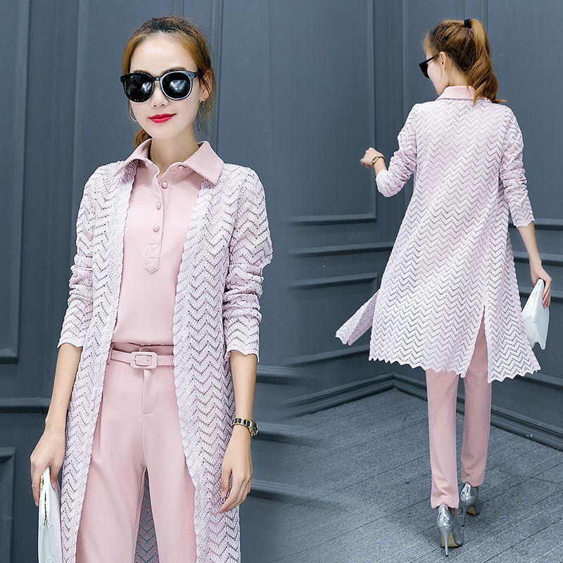 2017 fashion women 3 piece set spring Autumn suit female fashion long sleeve lace cardigan work clothes 2 piece set women sets